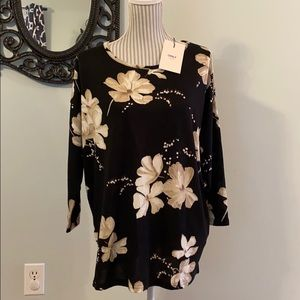 Only Brand Long Style Black Floral Light Knit Top